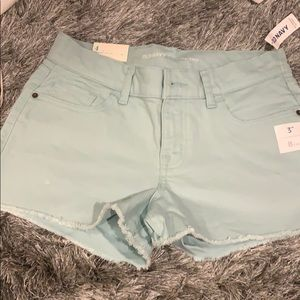 blue teal cut off shorts